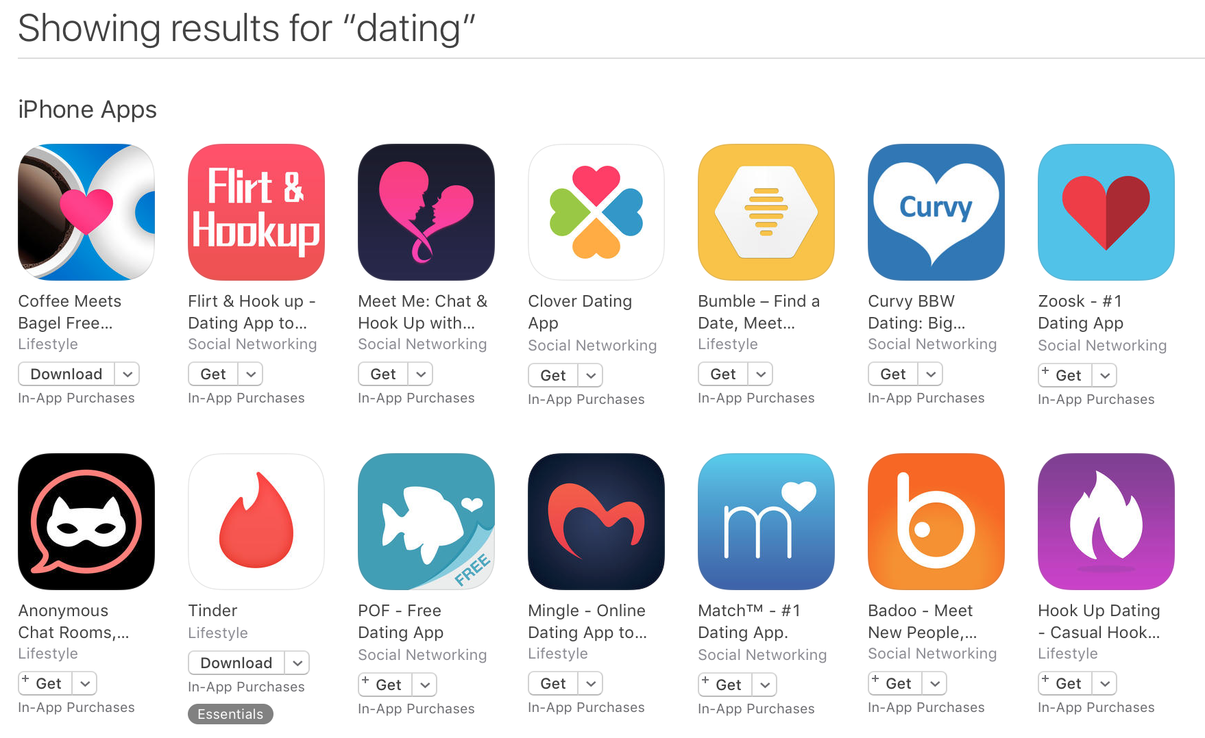 Dating site app logos